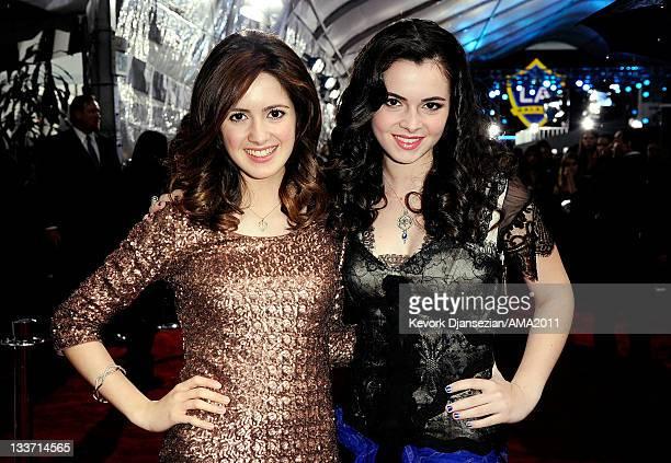Actresses Lauran Marano and Vanessa Marano arrive at the 2011 American Music Awards held at Nokia Theatre LA LIVE on November 20 2011 in Los Angeles...