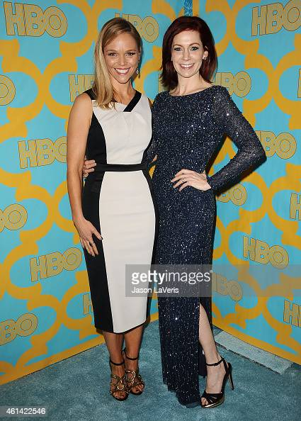 Actresses Lauren Bowles and Carrie Preston attend HBO's post Golden Globe Awards party at The Beverly Hilton Hotel on January 11 2015 in Beverly...