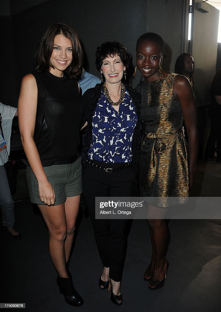 Actresses Lauren Cohan (L), Danai Gurira (R) and producer <a gi-track='captionPersonalityLinkClicked' href=/galleries/search?phrase=Gale+Anne+Hurd&family=editorial&specificpeople=228412 ng-click='$event.stopPropagation()'>Gale Anne Hurd</a> speaks onstage at AMC's 'The Walking Dead' panel during Comic-Con International 2013 at San Diego Convention Center on July 19, 2013 in San Diego, California.