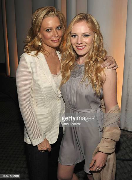 Actresses Laurie Holden and Emma Bell attend 'The Walking Dead' panel at Leonard H Goldenson Theatre on March 3 2011 in North Hollywood California