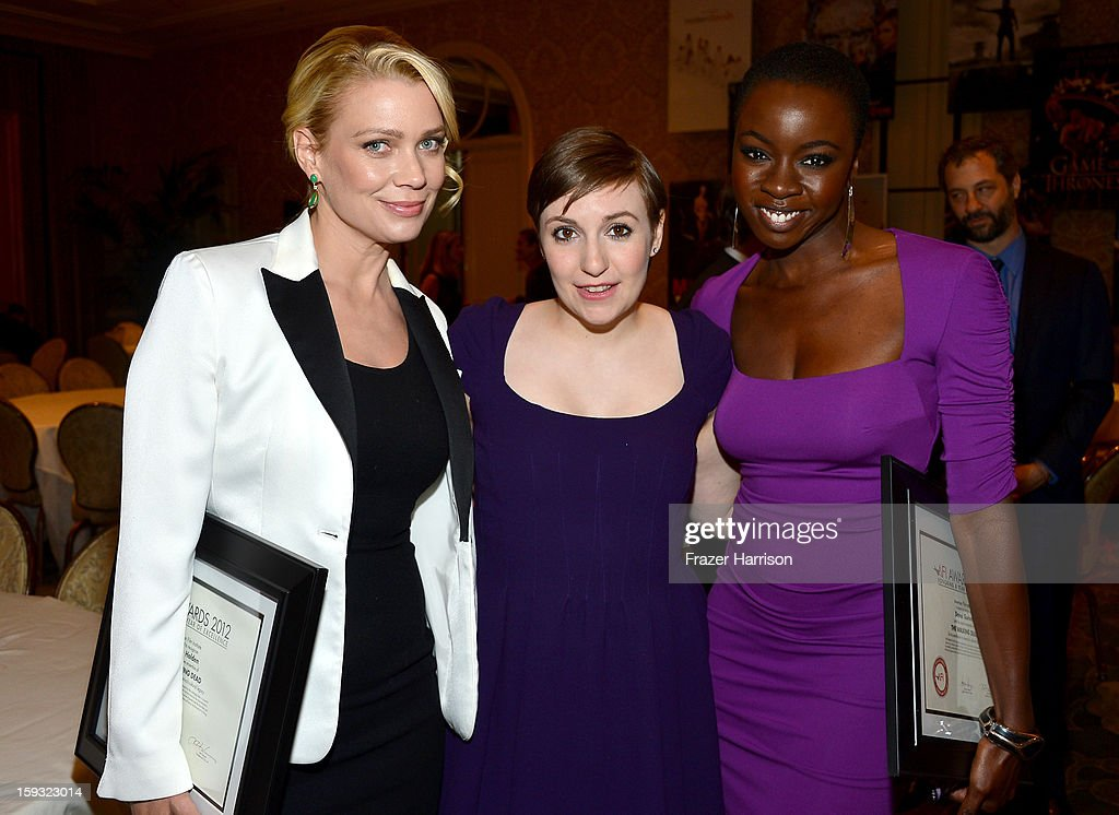 Actresses Laurie Holden, Lena Dunham and Danai Gurira attend the 13th Annual AFI Awards at Four Seasons Los Angeles at Beverly Hills on January 11, 2013 in Beverly Hills, California.
