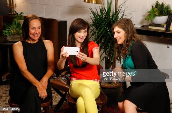 Actresses Laurie Metcalf Ashley Rickards and Mayim Bialik attend the Variety Studio powered by Samsung Galaxy on May 28 2014 in West Hollywood...