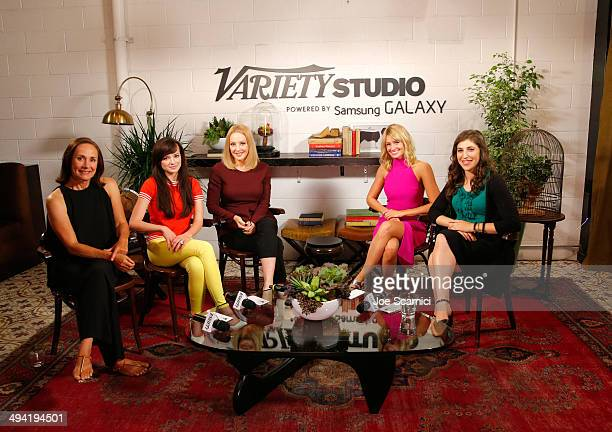 Actresses Laurie Metcalf Ashley Rickards Wendi McLendonCovey Beth Behrs and Mayim Bialik attend the Variety Studio powered by Samsung Galaxy on May...
