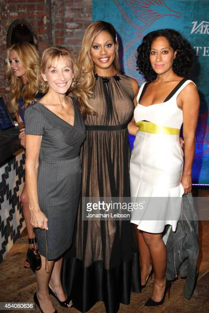 Actresses Laverne Cox and Tracee Ellis Ross attend Variety and Women in Film Emmy Nominee Celebration powered by Samsung Galaxy on August 23 2014 in...