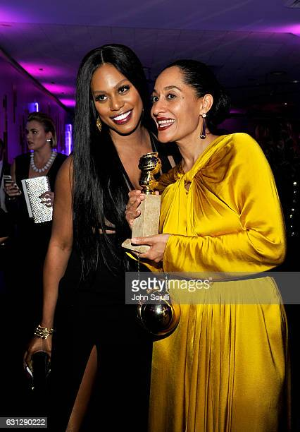 Actresses Laverne Cox and Tracee Ellis Ross attends The 2017 InStyle and Warner Bros 73rd Annual Golden Globe Awards PostParty at The Beverly Hilton...