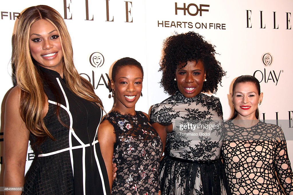 Actresses Laverne Cox, <a gi-track='captionPersonalityLinkClicked' href=/galleries/search?phrase=Samira+Wiley&family=editorial&specificpeople=10947919 ng-click='$event.stopPropagation()'>Samira Wiley</a>, <a gi-track='captionPersonalityLinkClicked' href=/galleries/search?phrase=Uzo+Aduba&family=editorial&specificpeople=7042411 ng-click='$event.stopPropagation()'>Uzo Aduba</a> and Yael Stone attend the ELLE Women In Television Celebration held at the Sunset Tower on January 22, 2014 in West Hollywood, California.