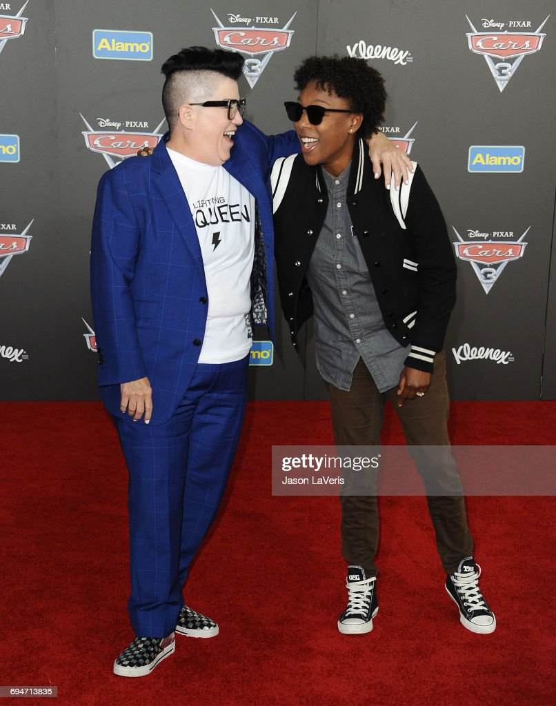 Actresses Lea DeLaria and Samira Wiley attend the premiere of 'Cars 3' at Anaheim Convention Center on June 10, 2017 in Anaheim, California.