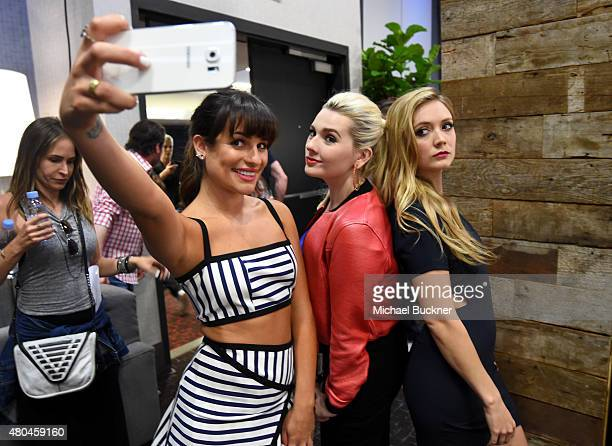 Actresses Lea Michele Abigail Breslin and Billie Lourd of 'Scream Queens' take a selfie at the Getty Images Portrait Studio Powered By Samsung Galaxy...