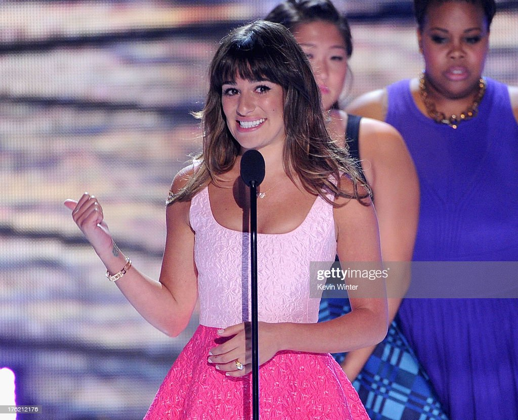 Actresses Lea Michele accepts Choice TV Show: Comedy award for 'Glee' onstage during the Teen Choice Awards 2013 at Gibson Amphitheatre on August 11, 2013 in Universal City, California.