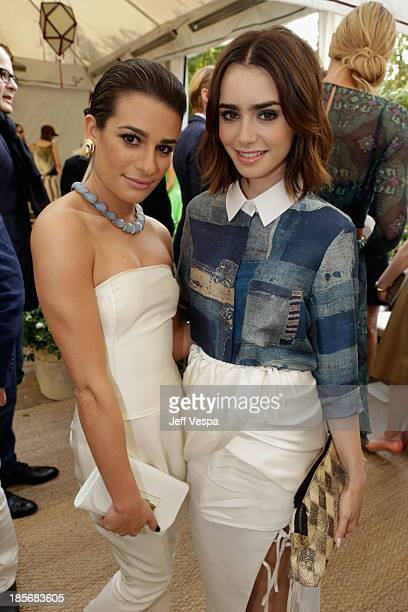 Actresses Lea Michele and Lily Collins attend the 2013 CFDA/Vogue Fashion Fund Event Presented by thecornercom and Supported by Audi Living Proof and...