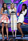 Actresses Lea Michele Emma Roberts and Keke Palmer speak onstage during the Teen Choice Awards 2015 at the USC Galen Center on August 16 2015 in Los...