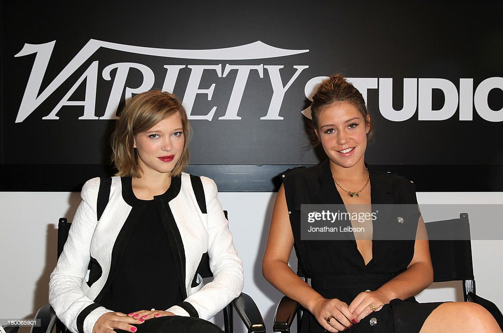 Actresses Lea Seydoux (L) and Adele Exarchopoulos speak at the Variety Studio presented by Moroccanoil at Holt Renfrew during the 2013 Toronto International Film Festival on September 8, 2013 in Toronto, Canada.