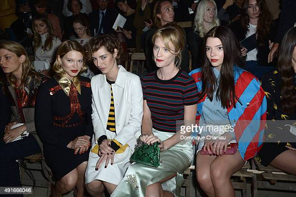 Actresses Lea Seydoux Louise Bourgoin Mackenzie Davis and Anya TaylorJoy attend the Miu Miu show as part of the Paris Fashion Week Womenswear...