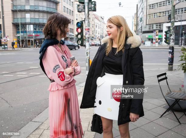 Actresses Lea van Acken and Lisa Marie Koroll before their Bibi Tina Tohuwabohu Total' on February 19 2017 in Berlin Germany