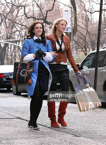 Actresses Leighton Meester and Blake Lively on location for 'Gossip Girl' in New York City on March 14 2008