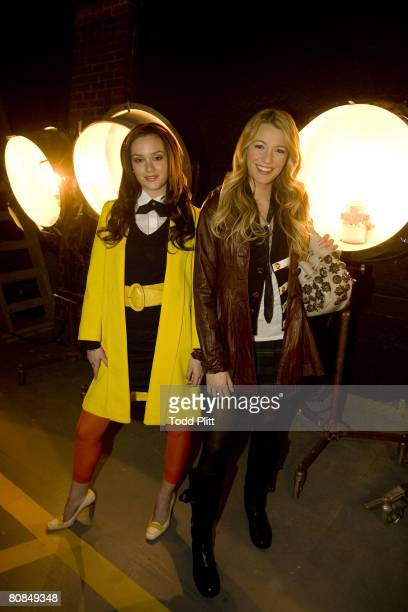 Actresses Leighton Meester and Blake Lively pose at a portrait session on the set of the TV show Gossip Girl at Silver Cup Studios in Long Island...