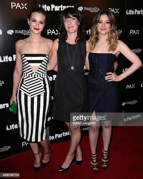 Actresses Leighton Meester and Gillian Jacobs pose with director Susanna Fogel at the premiere of Magnolia Pictures' 'Life Partners' at ArcLight...