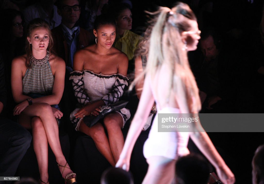 Actresses Leighton Meester and Joy Bryant attend the Zac Posen Spring 2009 fashion show during Mercedes-Benz Fashion Week at The Tent, Bryant Park on September 11, 2008 in New York City.