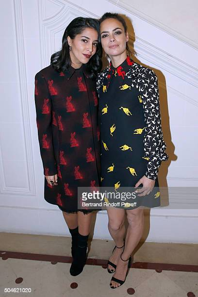 Actresses Leila Bekhti dressed in Prada and Berenice Bejo dressed in Miu Miu attend the 'Cesar Revelations 2016' Photocall at Chaumet followed by a...