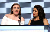 Actresses Lena Dunham and America Fererra deliver remarks on the second day of the 2016 Democratic National Convention at Wells Fargo Center on July...