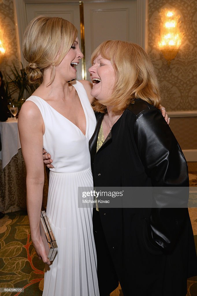 Actresses Lesley Nicol (R) and Joanne Froggatt attend the BAFTA Los Angeles Awards Season Tea at Four Seasons Hotel Los Angeles at Beverly Hills on January 9, 2016 in Los Angeles, California.