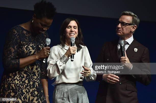 Actresses Leslie Jones Kristen Wiig and 'Ghostbusters' director Paul Feig speak onstage during CinemaCon 2016 An Evening with Sony Pictures...