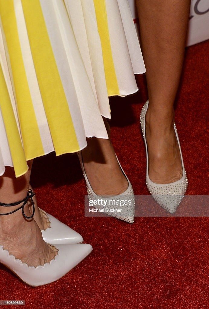 Actresses Leslie Mann (L) and Cameron Diaz (shoe detail) attend 20th Century Fox's Special Presentation Highlighting Its Future Release Schedule during CinemaCon, the official convention of the National Association of Theatre Owners, at The Colosseum at Caesars Palace on March 27, 2014 in Las Vegas, Nevada.