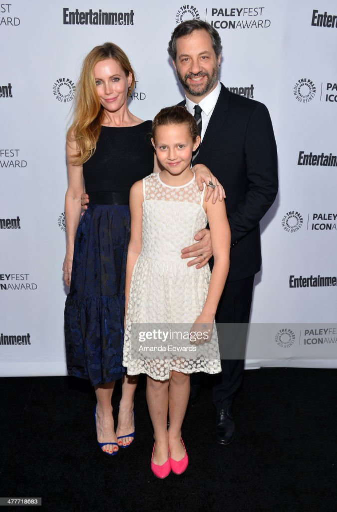 Actresses <a gi-track='captionPersonalityLinkClicked' href=/galleries/search?phrase=Leslie+Mann&family=editorial&specificpeople=595973 ng-click='$event.stopPropagation()'>Leslie Mann</a> and <a gi-track='captionPersonalityLinkClicked' href=/galleries/search?phrase=Iris+Apatow&family=editorial&specificpeople=4346737 ng-click='$event.stopPropagation()'>Iris Apatow</a> and director <a gi-track='captionPersonalityLinkClicked' href=/galleries/search?phrase=Judd+Apatow&family=editorial&specificpeople=854225 ng-click='$event.stopPropagation()'>Judd Apatow</a> arrive at the 2014 Paleyfest Icon Award ceremony honoring <a gi-track='captionPersonalityLinkClicked' href=/galleries/search?phrase=Judd+Apatow&family=editorial&specificpeople=854225 ng-click='$event.stopPropagation()'>Judd Apatow</a> at The Paley Center for Media on March 10, 2014 in Beverly Hills, California.