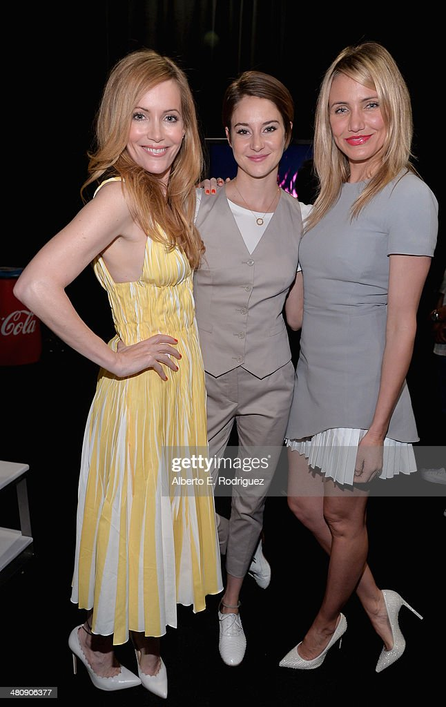 Actresses <a gi-track='captionPersonalityLinkClicked' href=/galleries/search?phrase=Leslie+Mann&family=editorial&specificpeople=595973 ng-click='$event.stopPropagation()'>Leslie Mann</a>, <a gi-track='captionPersonalityLinkClicked' href=/galleries/search?phrase=Shailene+Woodley&family=editorial&specificpeople=676833 ng-click='$event.stopPropagation()'>Shailene Woodley</a> and <a gi-track='captionPersonalityLinkClicked' href=/galleries/search?phrase=Cameron+Diaz&family=editorial&specificpeople=201892 ng-click='$event.stopPropagation()'>Cameron Diaz</a> attend 20th Century Fox's Special Presentation Highlighting Its Future Release Schedule during CinemaCon, the official convention of the National Association of Theatre Owners, at The Colosseum at Caesars Palace on March 27, 2014 in Las Vegas, Nevada.