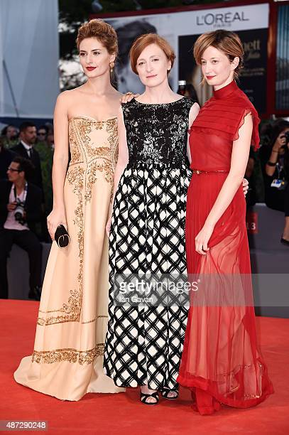 Actresses Lidiya Liberman Federica Fracassi and Alba Rohrwacher attend a premiere for 'Blood Of My Blood' during the 72nd Venice Film Festival at on...