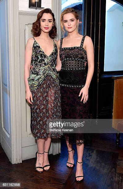Actresses Lily Collins and Zoey Deutch attend Lynn Hirschberg Celebrates W Magazine's It Girls with Stuart Weitzman at AOC on January 7 2017 in Los...