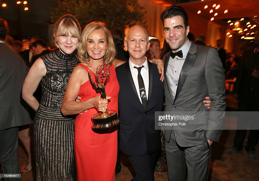 Actresses Lily Rabe, Jessica Lange, producer/creator Ryan Murphy, and Zachary Quinto attend the FOX Broadcasting Company, Twentieth Century FOX Television and FX 2012 Post Emmy party at Soleto on September 23, 2012 in Los Angeles, California.