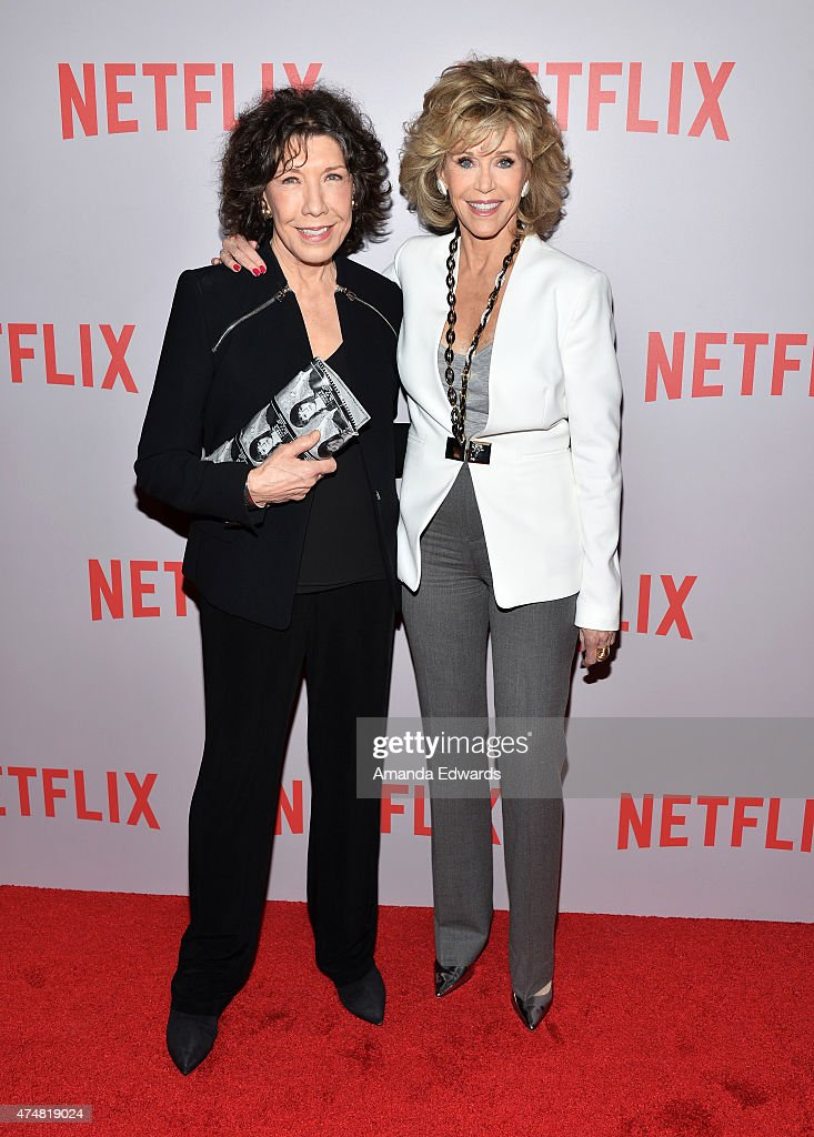 Actresses Lily Tomlin and Jane Fonda arrive at Netflix's 'Grace Frankie' For Your Consideration QA screening event at the Pacific Design Center on...