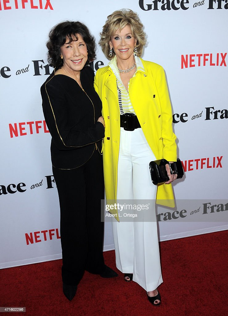 Actresses Lily Tomlin and Jane Fonda arrive for the Premiere Of Netflix's 'Grace And Frankie' held at Regal Cinemas LA Live on April 29 2015 in Los...