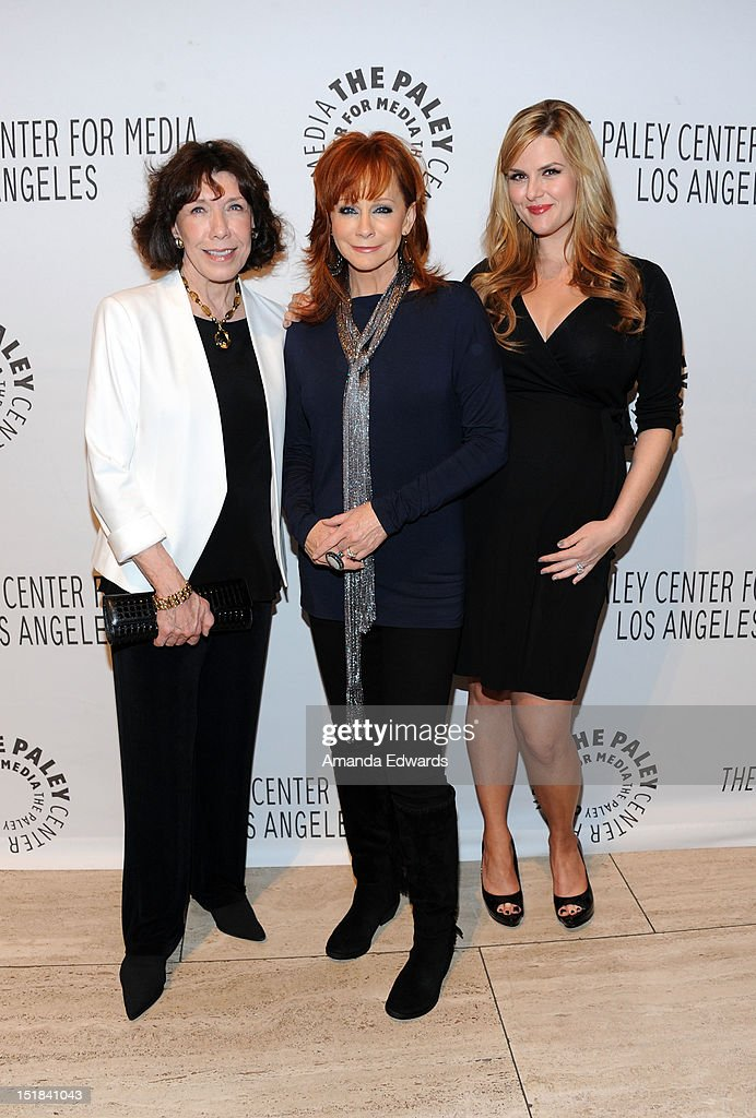 Actresses <a gi-track='captionPersonalityLinkClicked' href=/galleries/search?phrase=Lily+Tomlin&family=editorial&specificpeople=208236 ng-click='$event.stopPropagation()'>Lily Tomlin</a>, <a gi-track='captionPersonalityLinkClicked' href=/galleries/search?phrase=Reba+McEntire&family=editorial&specificpeople=202959 ng-click='$event.stopPropagation()'>Reba McEntire</a> and <a gi-track='captionPersonalityLinkClicked' href=/galleries/search?phrase=Sara+Rue&family=editorial&specificpeople=203287 ng-click='$event.stopPropagation()'>Sara Rue</a> arrive at the 2012 PayleyFest : Fall TV Preview Party -ABC at The Paley Center for Media on September 11, 2012 in Beverly Hills, California.