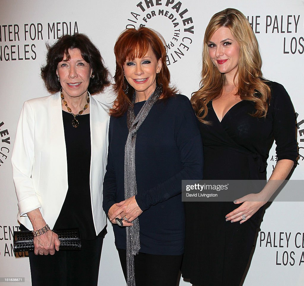 Actresses <a gi-track='captionPersonalityLinkClicked' href=/galleries/search?phrase=Lily+Tomlin&family=editorial&specificpeople=208236 ng-click='$event.stopPropagation()'>Lily Tomlin</a>, <a gi-track='captionPersonalityLinkClicked' href=/galleries/search?phrase=Reba+McEntire&family=editorial&specificpeople=202959 ng-click='$event.stopPropagation()'>Reba McEntire</a> and <a gi-track='captionPersonalityLinkClicked' href=/galleries/search?phrase=Sara+Rue&family=editorial&specificpeople=203287 ng-click='$event.stopPropagation()'>Sara Rue</a> attend The Paley Center for Media's 2012 PaleyFest: Fall TV Preview Party for ABC at The Paley Center for Media on September 11, 2012 in Beverly Hills, California.