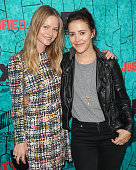 Actresses Lindsay Pulsipher and Abby Miller attend the premiere of FX's 'Justified' series finale at ArcLight Cinemas Cinerama Dome on April 13 2015...