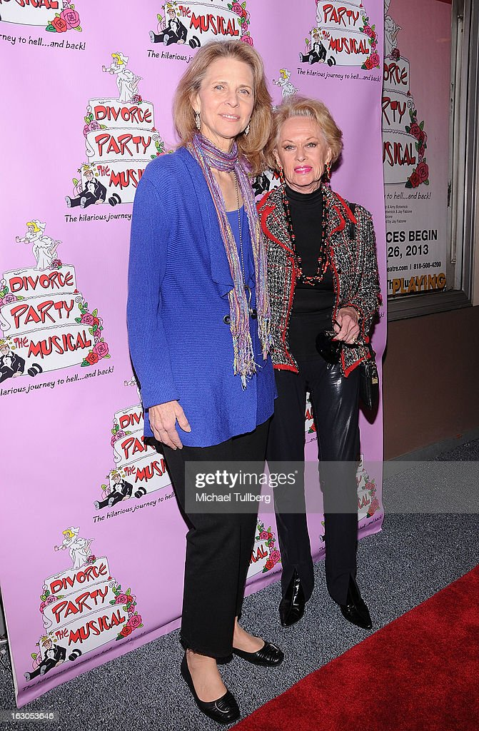 Actresses Lindsay Wagner and Tippi Hedren attend the opening night performance of 'Divorce Party - The Musical' at El Portal Theatre on March 3, 2013 in North Hollywood, California.