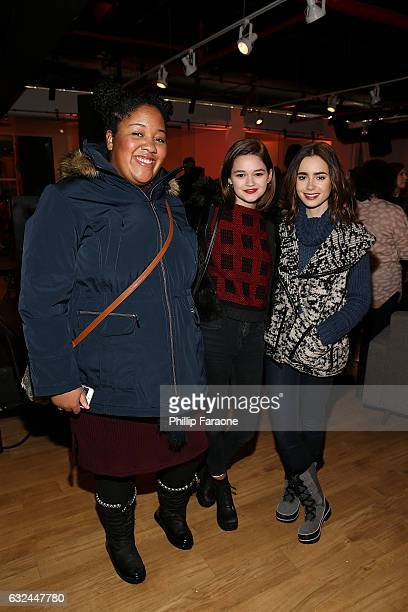 Actresses Lindsey McDowell Ciara Bravo and Lily Collins attend the AMBI MEDIA GROUP 2017 Sundance Film Festival Private Cocktail Reception at Acura...