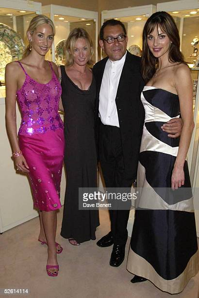 Actresses Lisa Butcher Victoria Smurfit designer and host Bruce Oldfield and actress Tasha de Vasconcelos attend the Grosvenor House Art Antiques...