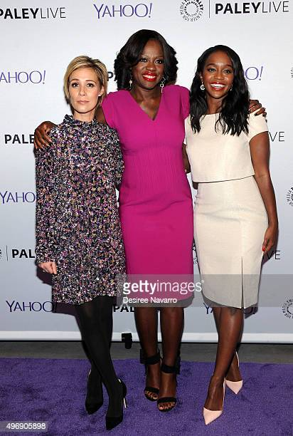 Actresses Liza Weil Viola Davis and Aja Naomi King attend PaleyLive NY 'How To Get Away With Murder' at The Paley Center for Media on November 12...