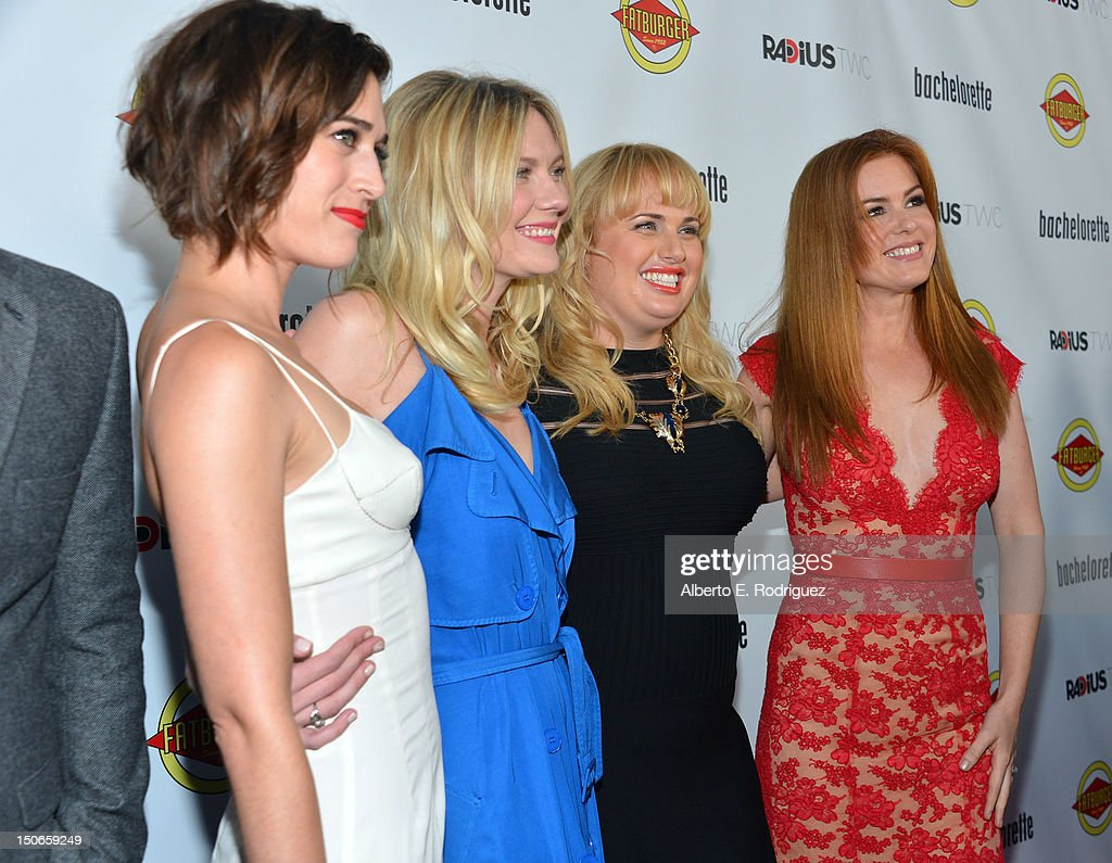 Actresses <a gi-track='captionPersonalityLinkClicked' href=/galleries/search?phrase=Lizzy+Caplan&family=editorial&specificpeople=599560 ng-click='$event.stopPropagation()'>Lizzy Caplan</a>, <a gi-track='captionPersonalityLinkClicked' href=/galleries/search?phrase=Kirsten+Dunst&family=editorial&specificpeople=171590 ng-click='$event.stopPropagation()'>Kirsten Dunst</a>, <a gi-track='captionPersonalityLinkClicked' href=/galleries/search?phrase=Rebel+Wilson&family=editorial&specificpeople=5563104 ng-click='$event.stopPropagation()'>Rebel Wilson</a>, and <a gi-track='captionPersonalityLinkClicked' href=/galleries/search?phrase=Isla+Fisher&family=editorial&specificpeople=220257 ng-click='$event.stopPropagation()'>Isla Fisher</a> arrive to the premiere of RADiUS-TWC's 'Bachelorette' at ArcLight Cinemas on August 23, 2012 in Hollywood, California.