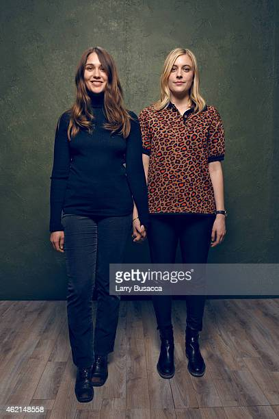 Actresses Lola Kirke and Greta Gerwig from 'Mistress America' pose for a portrait at the Village at the Lift Presented by McDonald's McCafe during...
