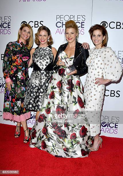 Actresses Lori Loughlin Andrea Barber Jodie Sweetin and Candace Cameron Bure pose in the press room during the People's Choice Awards 2017 at...