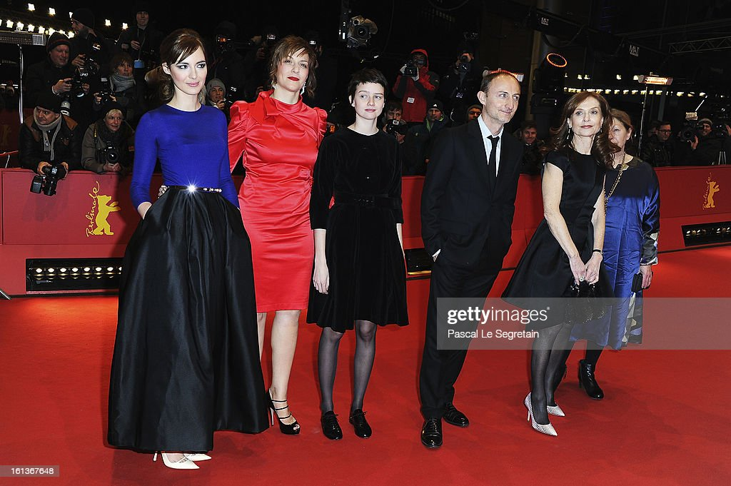 Actresses <a gi-track='captionPersonalityLinkClicked' href=/galleries/search?phrase=Louise+Bourgoin&family=editorial&specificpeople=4383765 ng-click='$event.stopPropagation()'>Louise Bourgoin</a>, <a gi-track='captionPersonalityLinkClicked' href=/galleries/search?phrase=Martina+Gedeck&family=editorial&specificpeople=621042 ng-click='$event.stopPropagation()'>Martina Gedeck</a>, <a gi-track='captionPersonalityLinkClicked' href=/galleries/search?phrase=Pauline+Etienne&family=editorial&specificpeople=6128830 ng-click='$event.stopPropagation()'>Pauline Etienne</a>, director Guillaume Nicloux and actress <a gi-track='captionPersonalityLinkClicked' href=/galleries/search?phrase=Isabelle+Huppert&family=editorial&specificpeople=662796 ng-click='$event.stopPropagation()'>Isabelle Huppert</a> attend 'The Nun' Premiere during the 63rd Berlinale International Film Festival at Berlinale Palast on February 10, 2013 in Berlin, Germany.