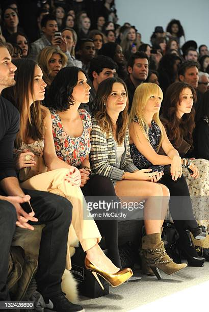 Actresses Louise Roe Olivia Munn Sophia Bush and Mena Suvari attend the Charlotte Ronson Fall 2011 Fashion show presented by Diet Pepsi during...