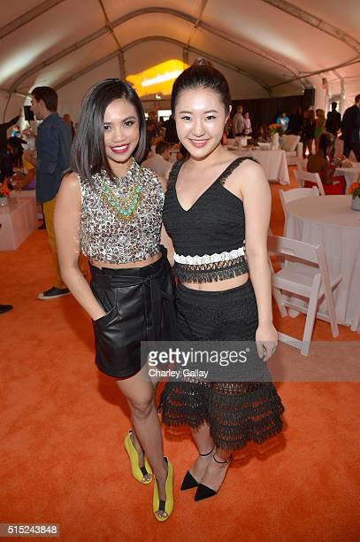 Actresses Louriza Tronco and Megan Lee attend Nickelodeon's 2016 Kids' Choice Awards at The Forum on March 12 2016 in Inglewood California