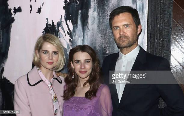 Actresses Lucy Boynton Emma Roberts and director Osgood Perkins attend the after party for the screening of 'The Blackcoat's Daughter' hosted by A24...