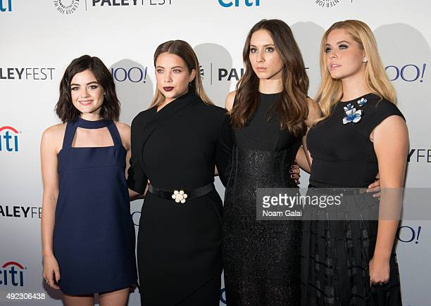 Actresses Lucy Hale Ashley Benson Troian Bellisario and Sasha Pieterse attend 'Pretty Little Liars' QA during the PaleyFest New York 2015 at The...
