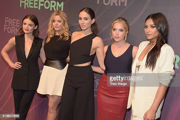 Actresses Lucy Hale Sasha Pieterse Troian Bellisario Ashley Benson and Shay Mitchell attend 2016 ABC Freeform Upfront at Spring Studios on April 7...